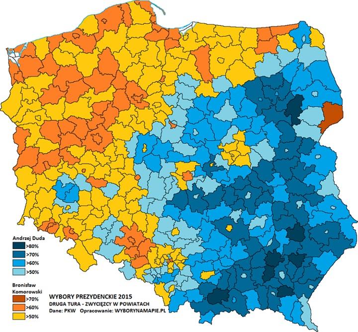 Mapa Wyborcza Polski Gminy I Powiaty Mapy Kresy
