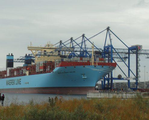 Statek przy terminalu kontenerów DCT Gdańsk
