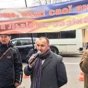 Neobanderowcy protestowali przed polską ambasadą w Kijowie