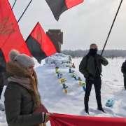 Banderowskie flagi podczas obchodów rocznicy zbrodni na Polakach w Hucie Pieniackiej [+FOTO]