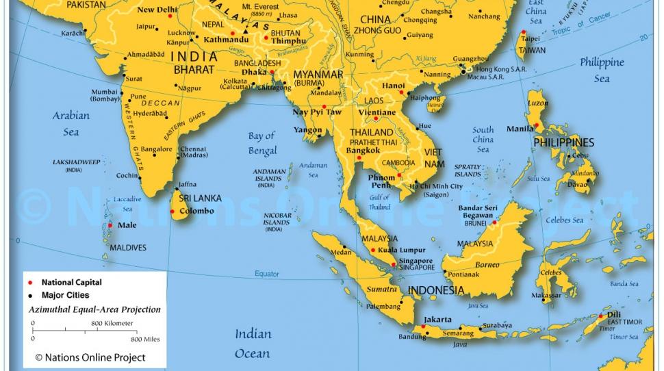 Azja Wschodnia Mapa Wektorowa Ilustracja Ilustracji Ilustracja